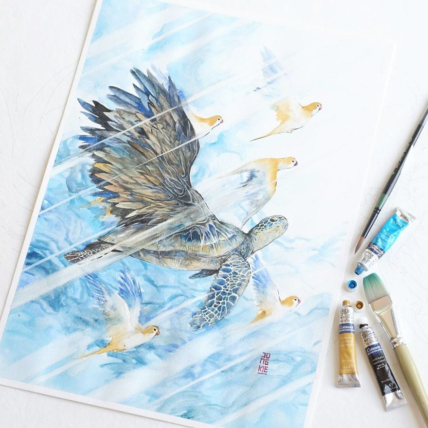 I Create Animal Spirits Trough Watercolor