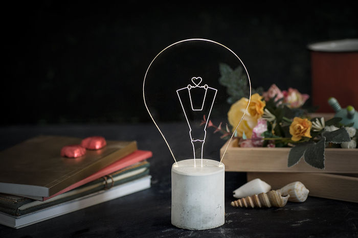 Heart Engraved Concrete Lamp