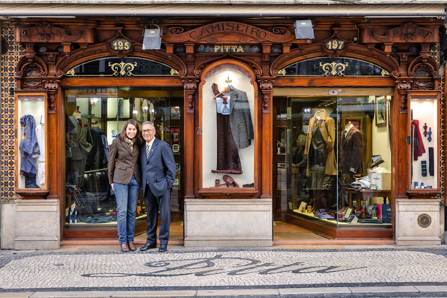 Cládia Marques And Her Grandfather Alfredo Teixeira Welcome Visitors Into Their Men's Clothing Store