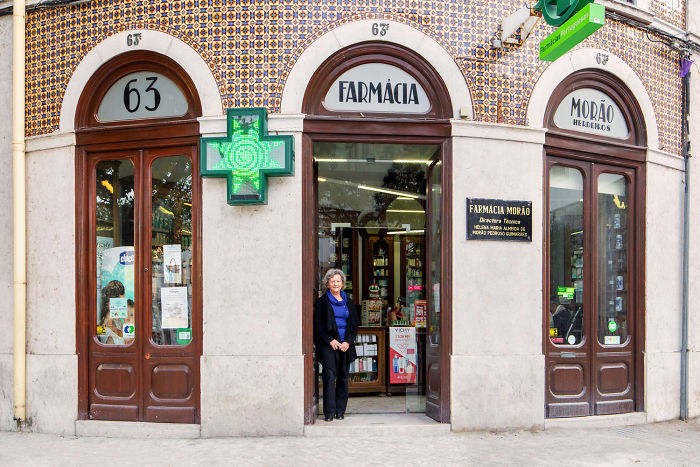 Helena M. Almeida At The Pharmacy Founded By Her Great-Grandfather