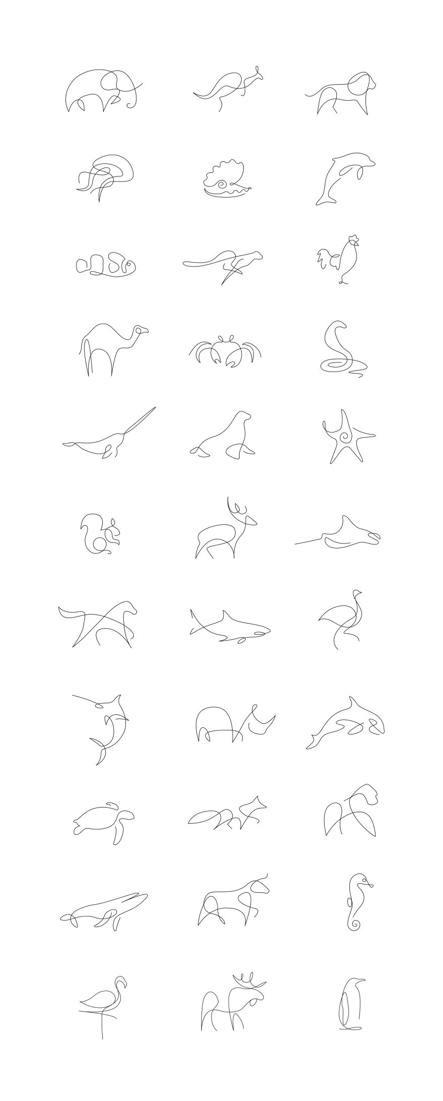 One Line Drawings Of Animals : Minimalist one line animals by a french artist duo the
