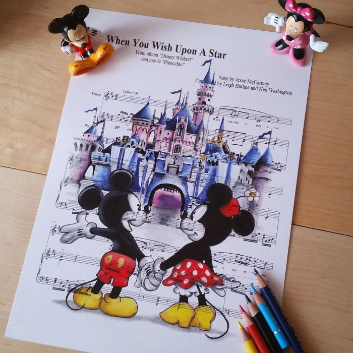 Best 25 Disney Sheet Music Ideas On Pinterest: I Draw Scenes From Famous Animated Movies On Music Sheets