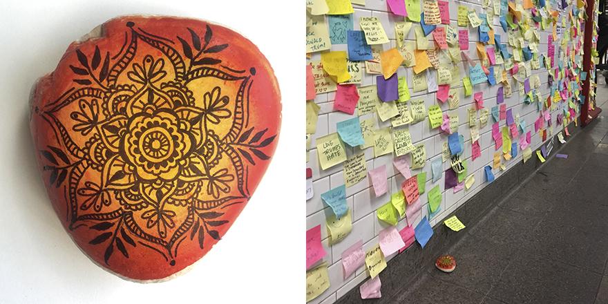 """Mandala Rock Left At New York Subway Station's """"Therapy Wall"""""""