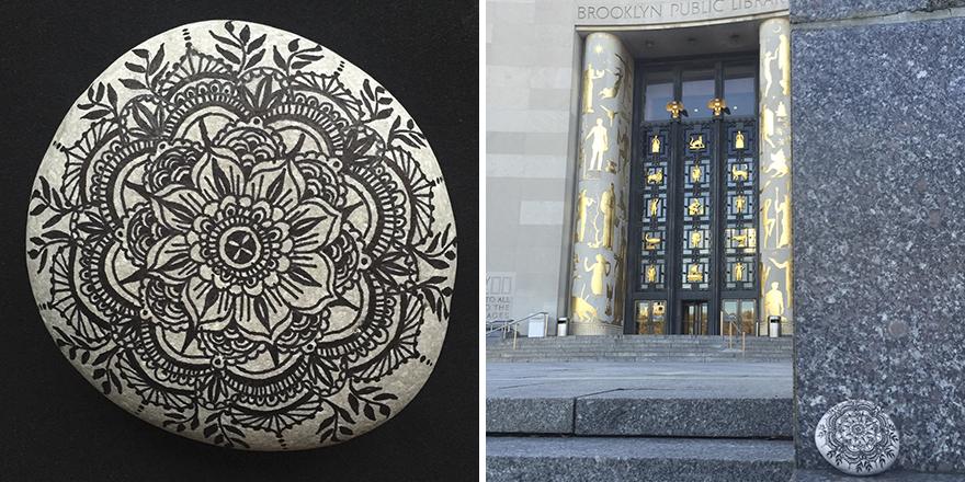 Mandala Rock Left At Brooklyn Public Library In New York