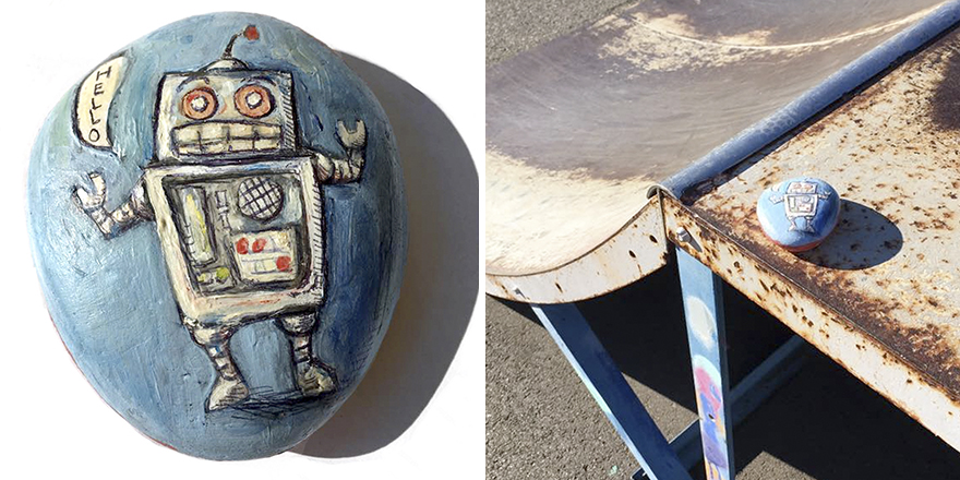 Robot Rock Left At Skate Park In Maryland