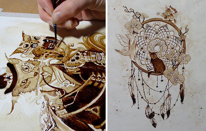 I Paint Using Only Coffee