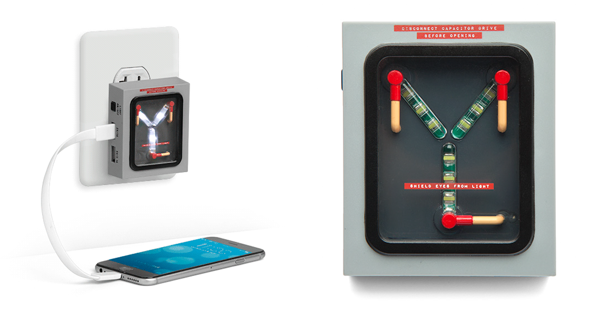 This Back To The Future Flux Capacitor Charger Lights Up