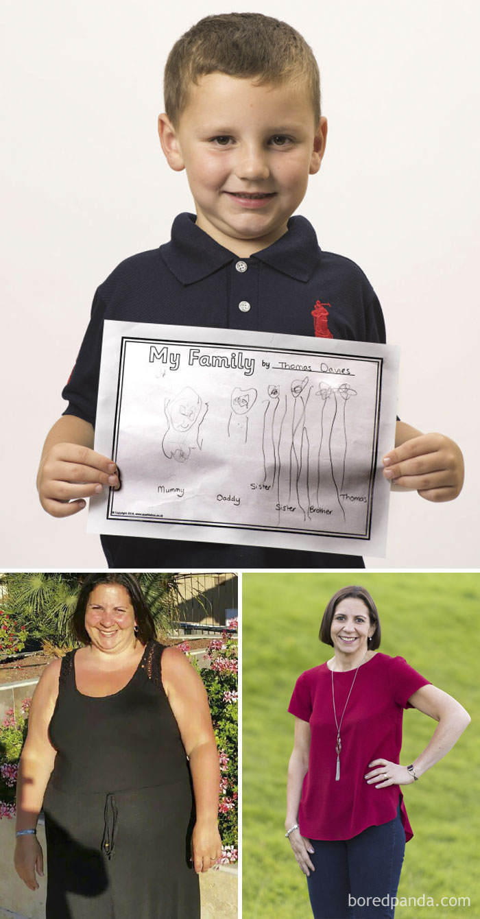 Woman Lost 140 Lbs After Seeing Her Son's Honest Drawing