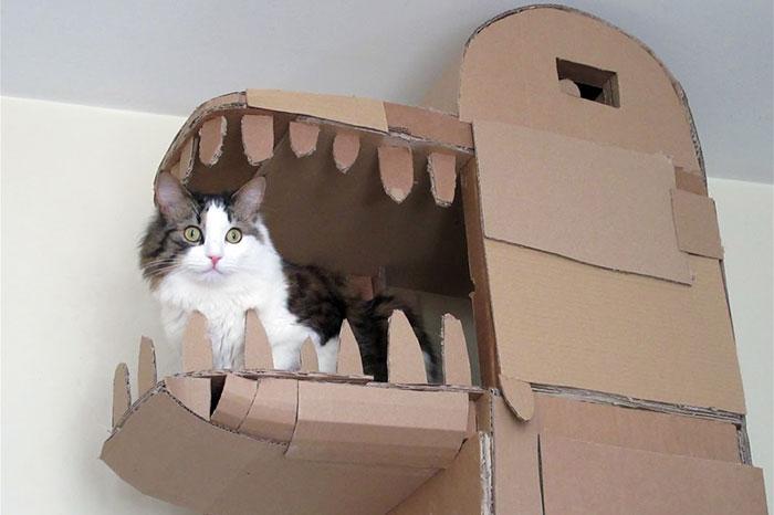 Que tal construir uma casa de papelão para seu gato em formato de dragão?