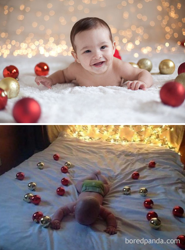 Baby Surrounded By Christmas Tree Ornaments. Nailed It
