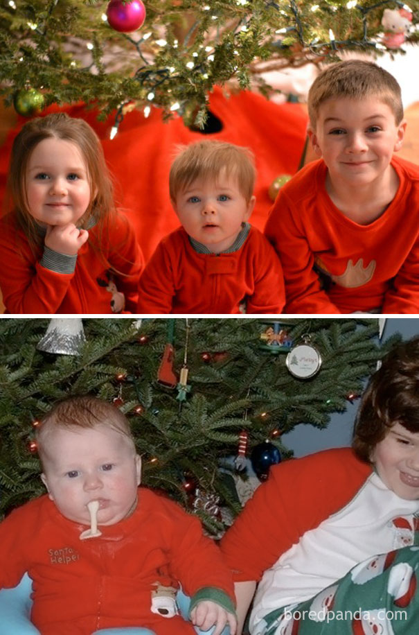 Siblings By The Christmas Tree. Nailed It