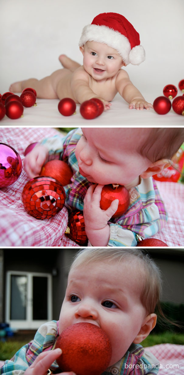 Baby And Christmas Ornaments. Nailed It