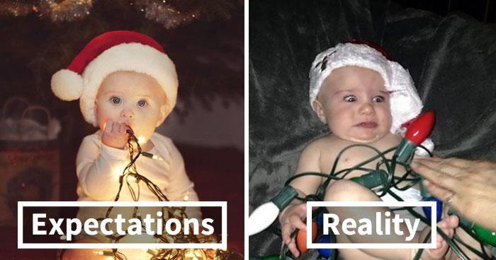 Expectations VS. Reality: 10+ Christmas Baby Photoshoot Fails