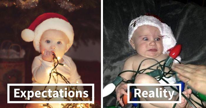Expectations Vs Reality 10 Christmas Baby Photoshoot