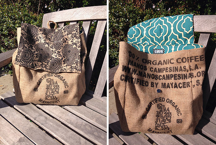 Upcycled Burlap Coffee Sack Backpack