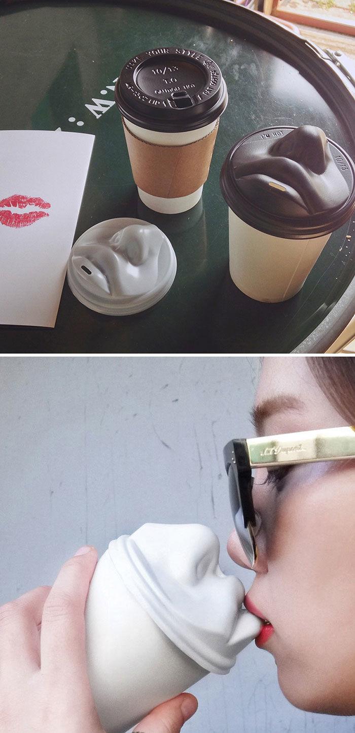 Human Face Coffee Lids