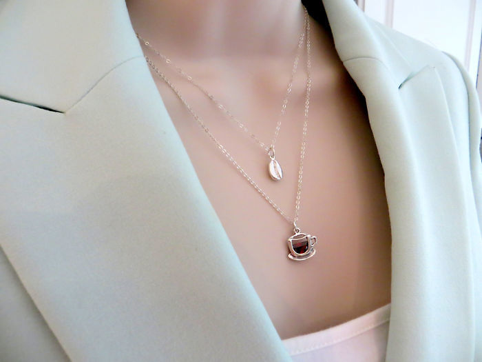 Coffee Bean And Cup Necklace