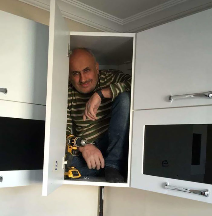 Contractor Gets In The Cabinet To Prove Its Sturdiness, Sparks Hilarious Photoshop Battle