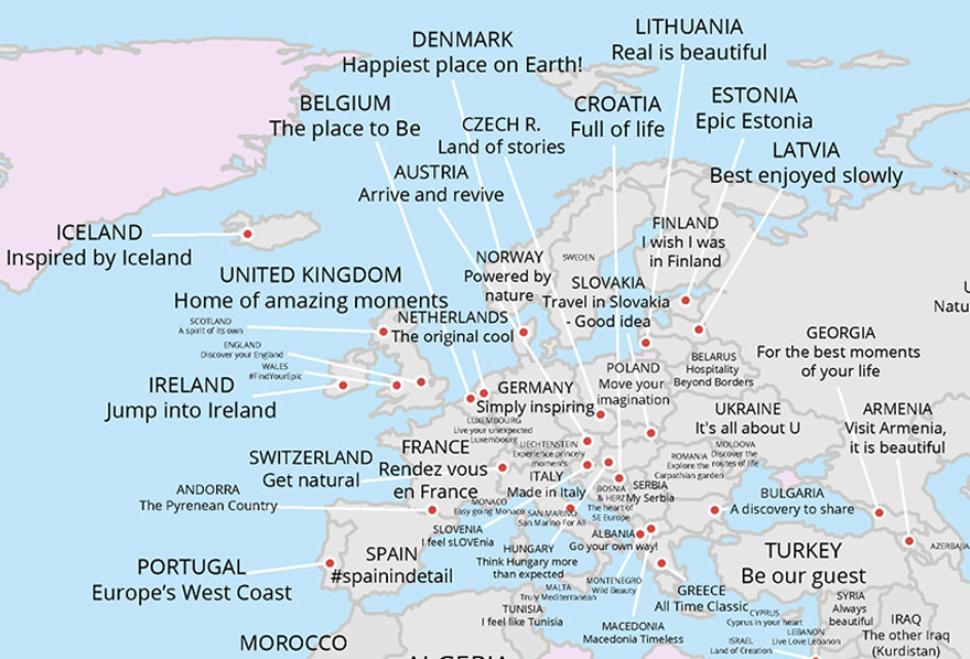 Map Reveals Every Country\'s Tourism Slogan | Bored Panda