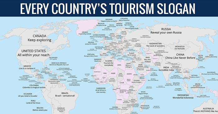 Map Reveals Every Countrys Tourism Slogan Bored Panda - Indonesia maps with countries