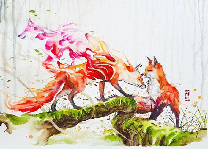 I Create Animal Spirits Through Watercolor