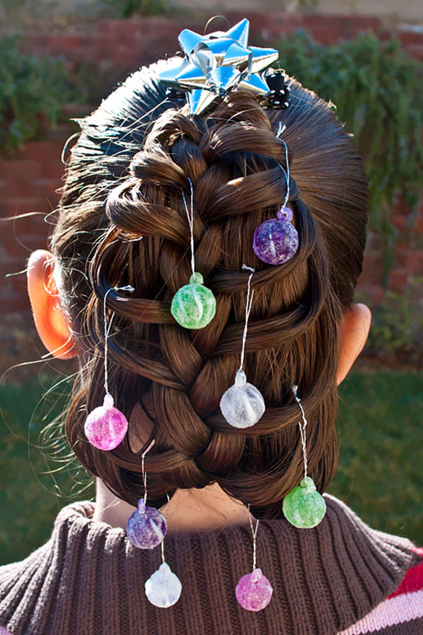Christmas Tree Braid With Hung Ornaments
