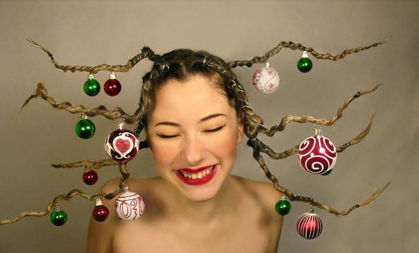 Funky Tree Branch Braid With Hung Ornaments