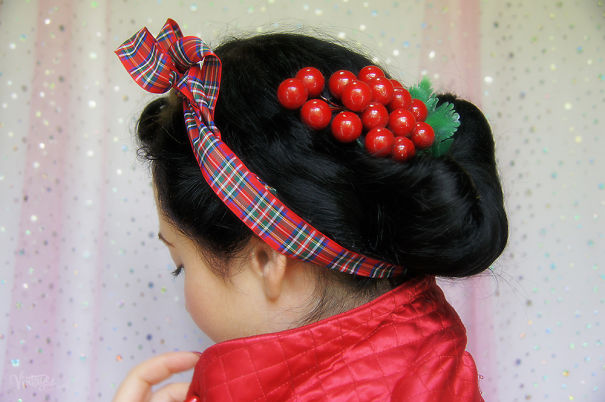 Elegant Up-do With Cranberry Hair Pin