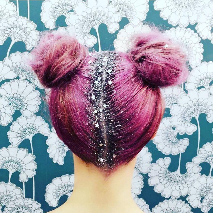glitter roots buns