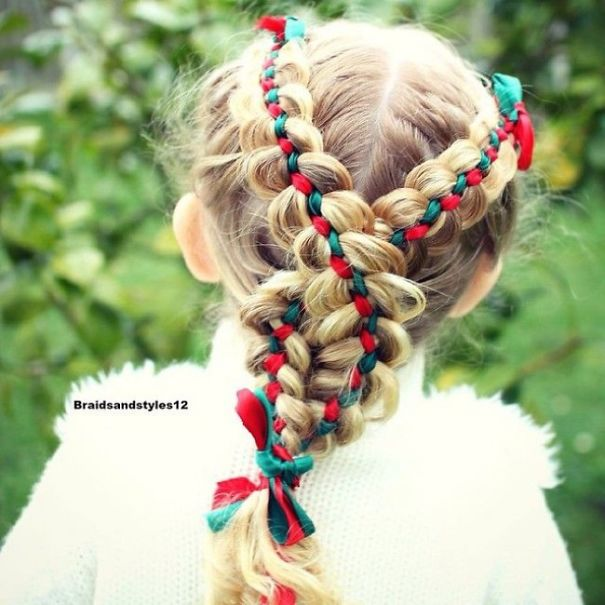 Beautiful Braid With Christmas Ribbons