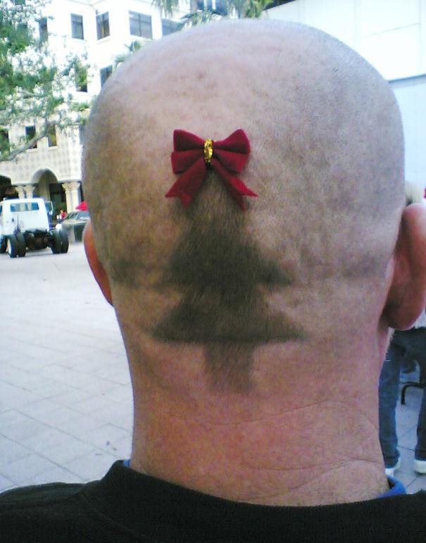 Christmas Tree Hair Tattoo