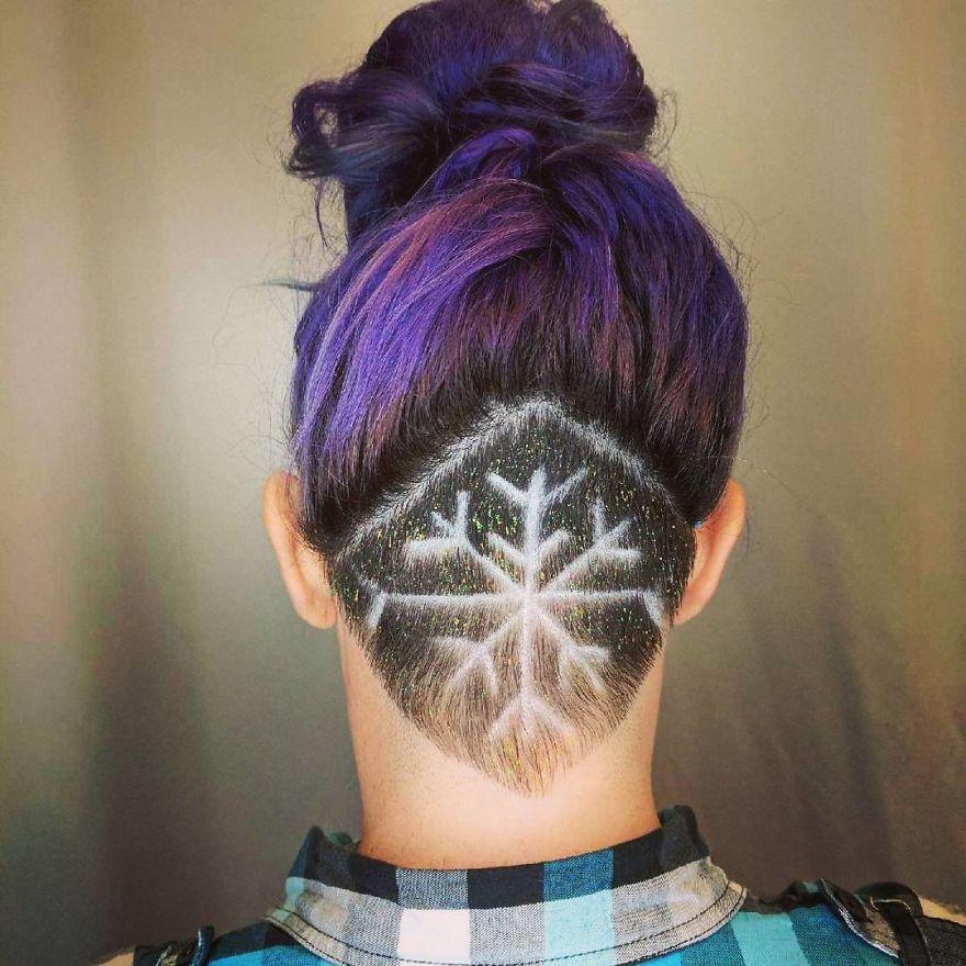 snowflake hair tattoo