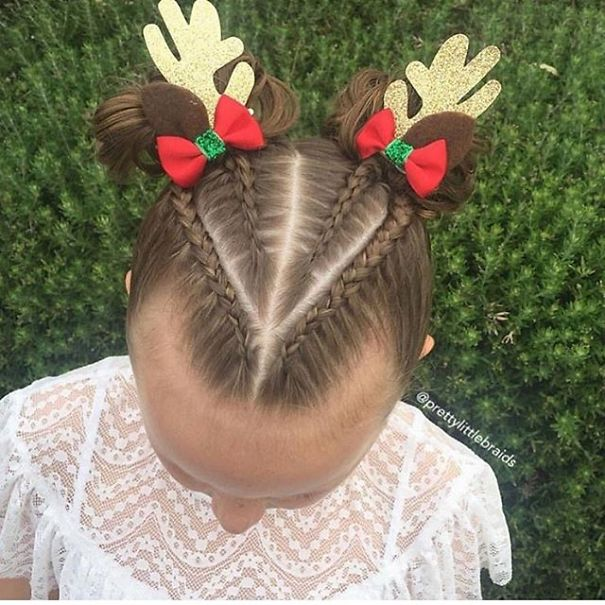 intricate braid with antlers