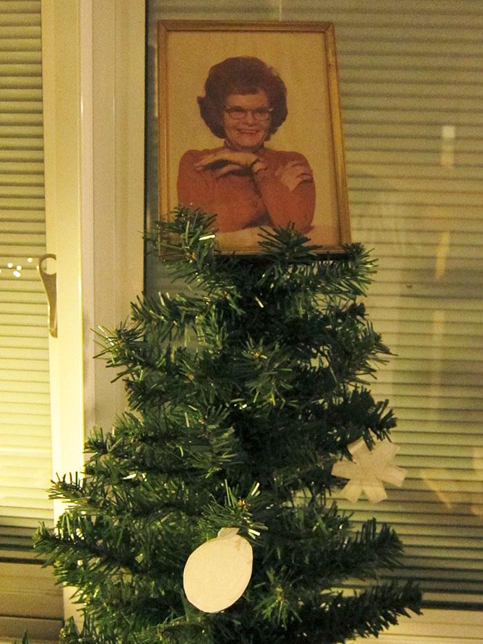 My Dorm Room Christmas Tree Topper. Best Dollar I've Ever Spent At A Garage Sale