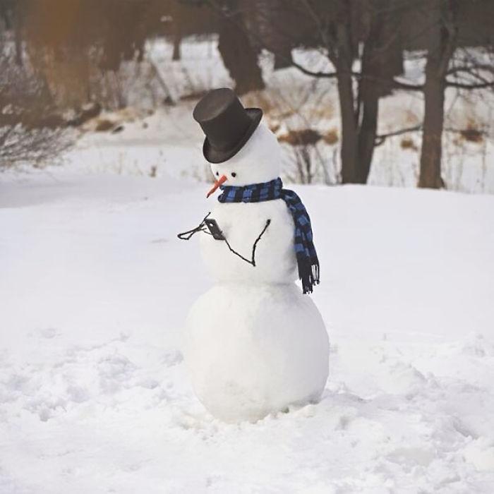 Snowman Using Phone