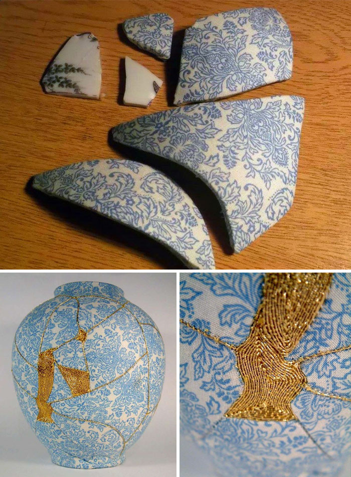 Broken Vases Repaired By Sewing Them With Gold Thread
