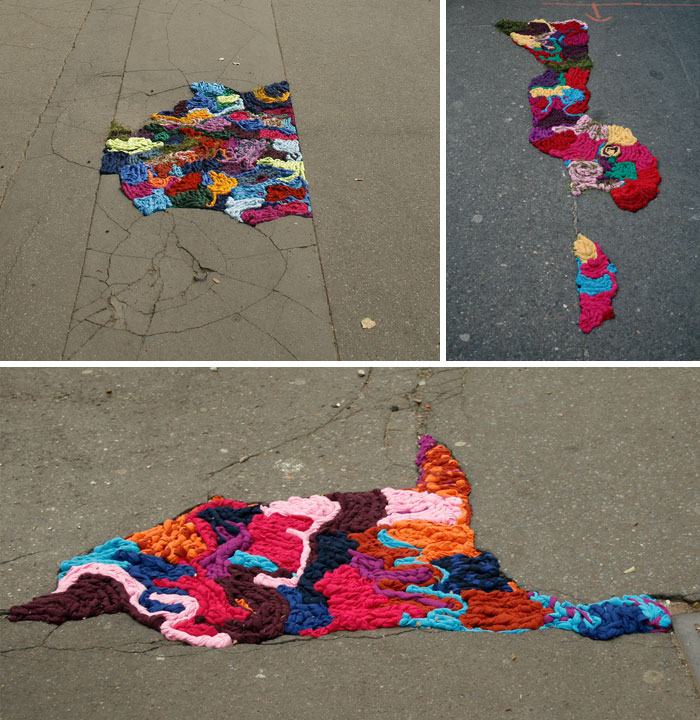 Potholes Filled With Braided Strips Of Colourful Fabric