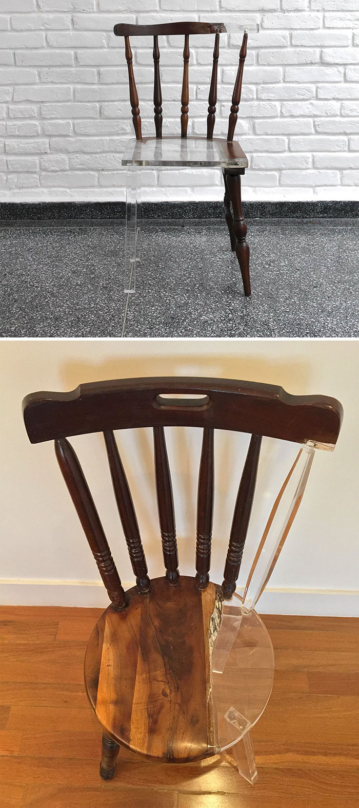 "Artist ""Fixes"" Broken Wood Furniture With Translucent Materials"