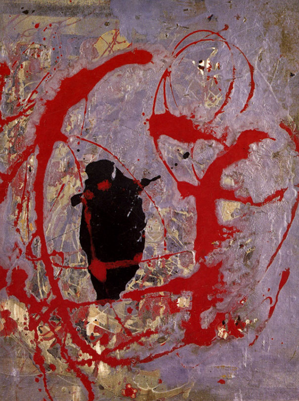 Jackson Pollock: Red Black And Silver By (1956)