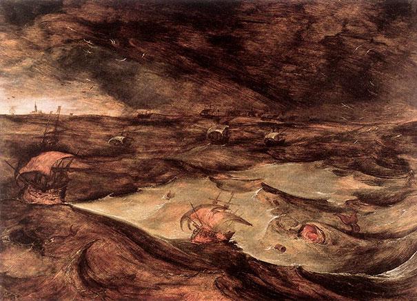 Pieter Bruegel The Elder: Storm At Sea, Unfinished (1569)