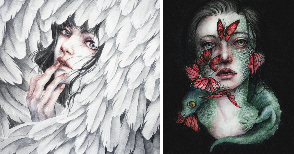 I Paint Ethereal Watercolor Portraits