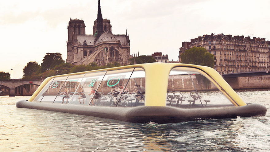 Floating Gym In Paris Uses Human Energy To Sail Down The Seine River