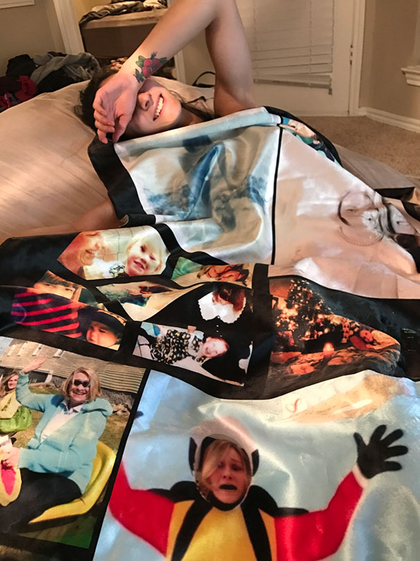 I Ordered My Girlfriend A Collage Blanket Covered In Photos Of Myself, And They Sent Another Family's Blanket. Gave It To Her Anyway