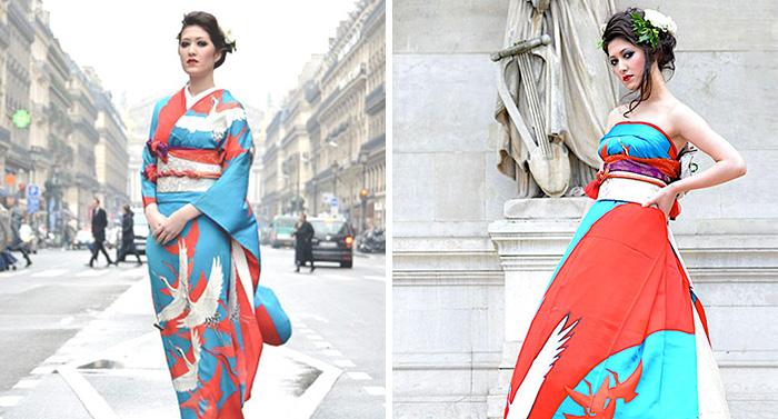 Las novias japonesas transforman sus kimonos tradicionales en extraordinarios vestidos de boda