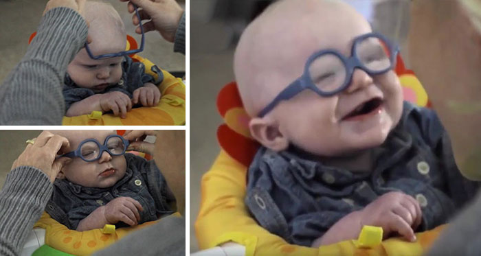Baby, Who Suffers From A Rare Disease That Impairs His Sight, Gets Glasses And Sees Mom For The First Time And Smiles