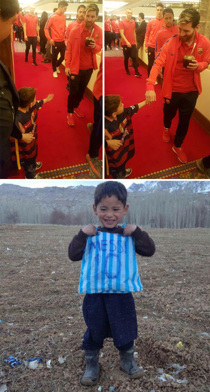 Afghan Boy With Plastic Bag Messi Shirt Finally Gets To Meet His Hero Lionel Messi