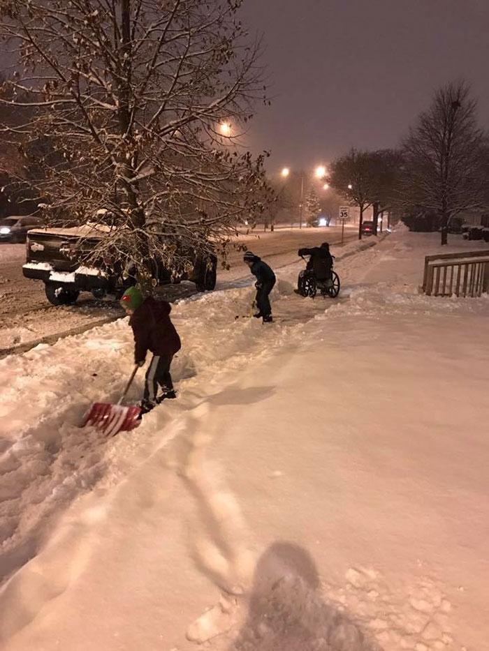 Dad Pulls Over After Sons Ask If They Can Help A Man In A Wheel Chair To Shovel Snow