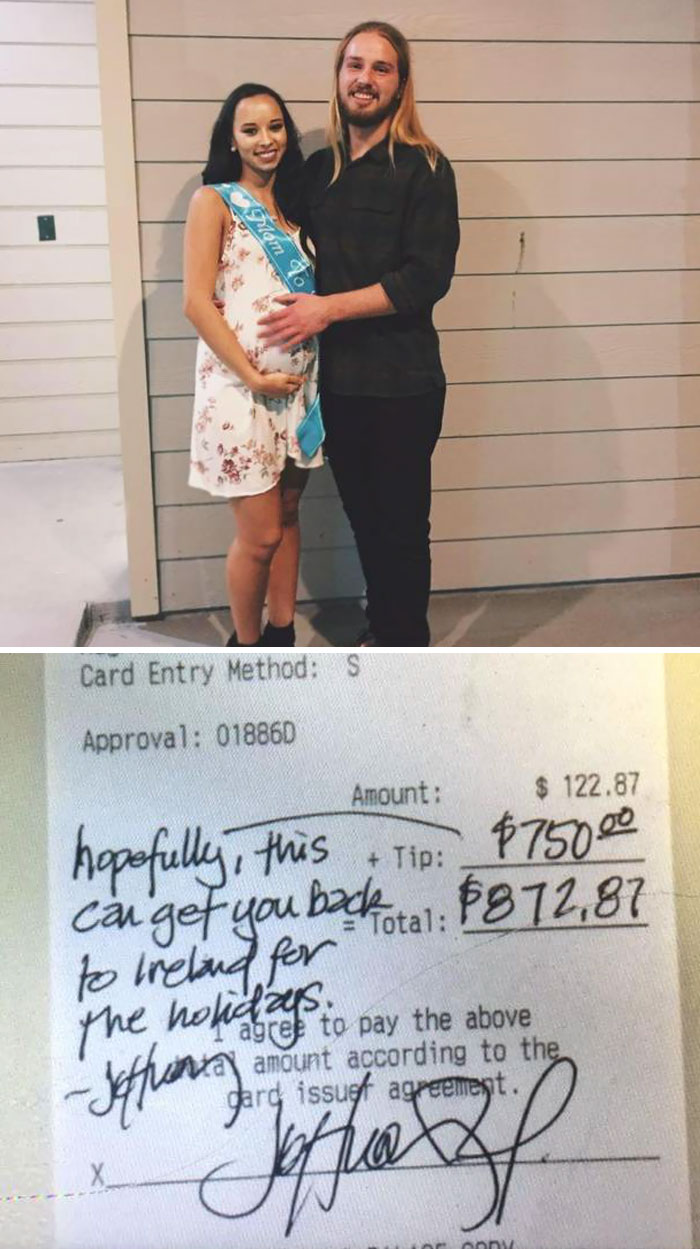 Irish Waiter Receives $750 Tip From A Customer So That He Can Fly Home For Christmas With His Girlfriend And Newborn Baby
