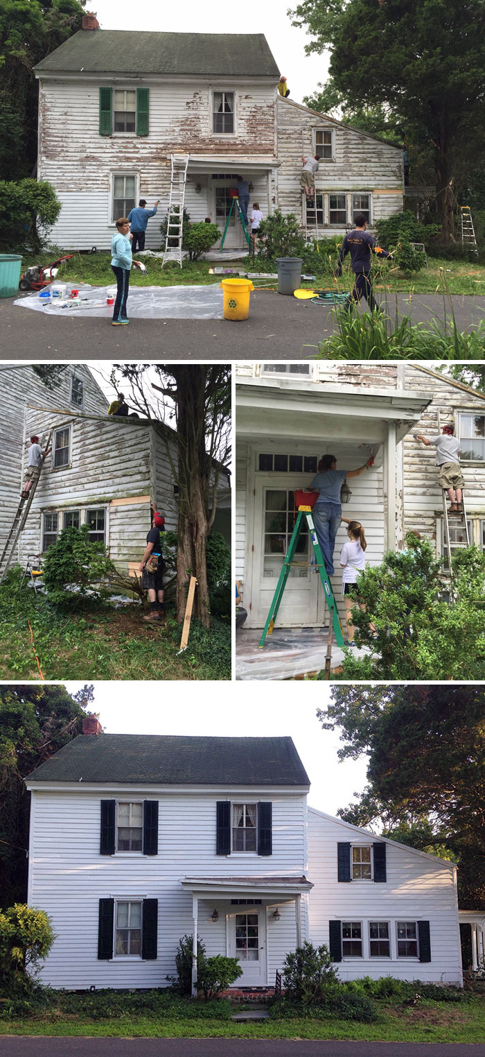 Neighbors Repaired The House Of A Lonely Retired Teacher For Free