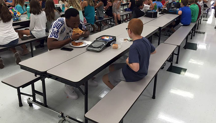 Travis Rudolph - FSU Football Player - Joins An Autistic Boy Eating Alone For Lunch